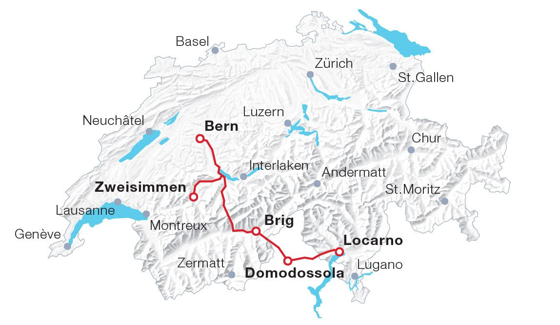 Map Lötschberg Mountain Route and Centovalli
