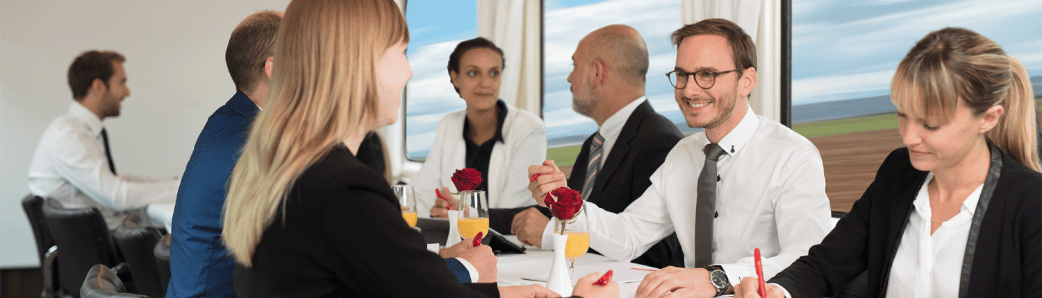 Business meeting on a charter train
