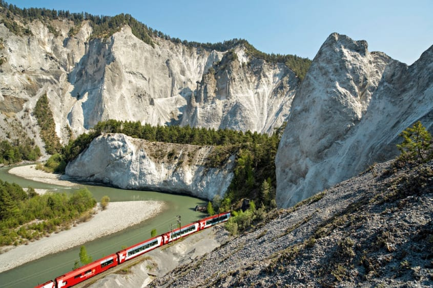 Glacier Express at Rhine Gorge, Grisons