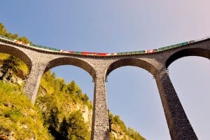 Glacier Express on Landwasser Viaduct, Grisons