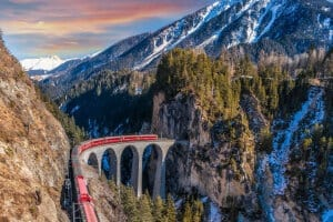 Rhaetian Railways on Landwasser Viaduct, Grisons