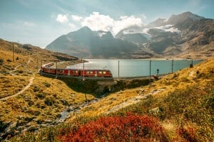 Rhaetian Railways at Lago Bianco, Grisons