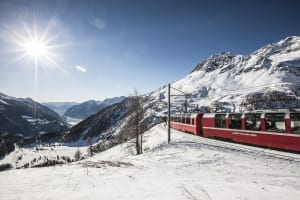 Bernina Express on Alp Grüm