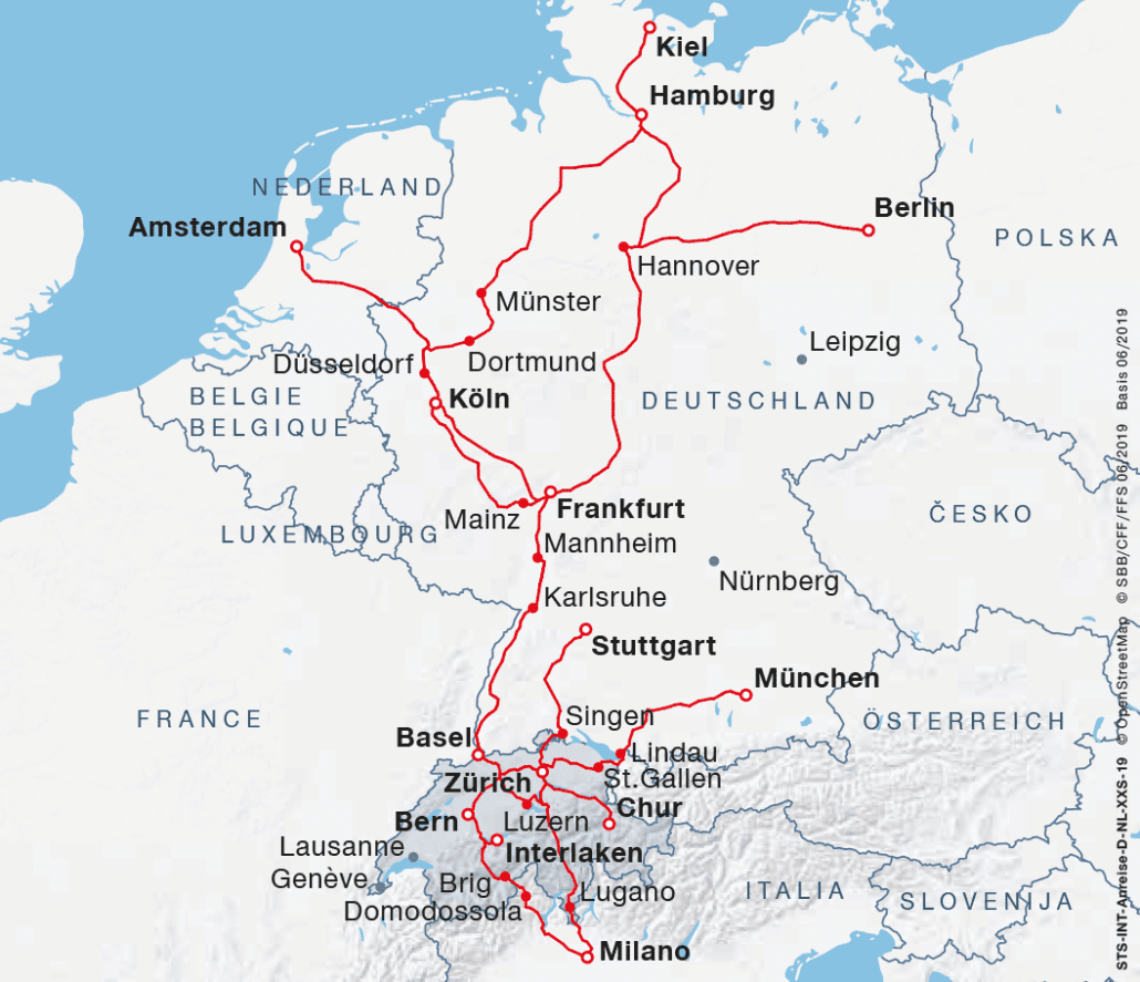 Map – Arrival from Germany