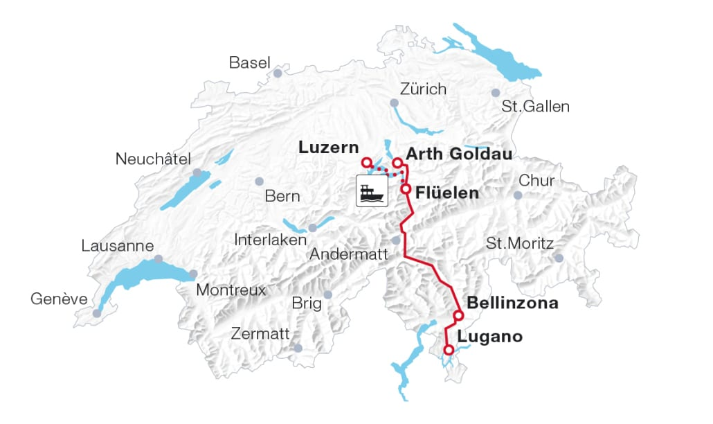 Map: Gotthard Panorama Express