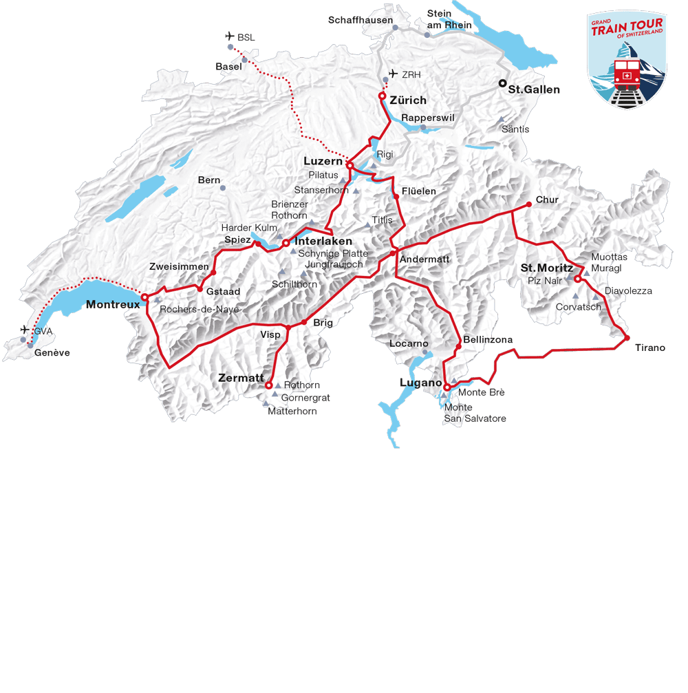 Karte: Klassiker Tour (Grand Train Tour of Switzerland)
