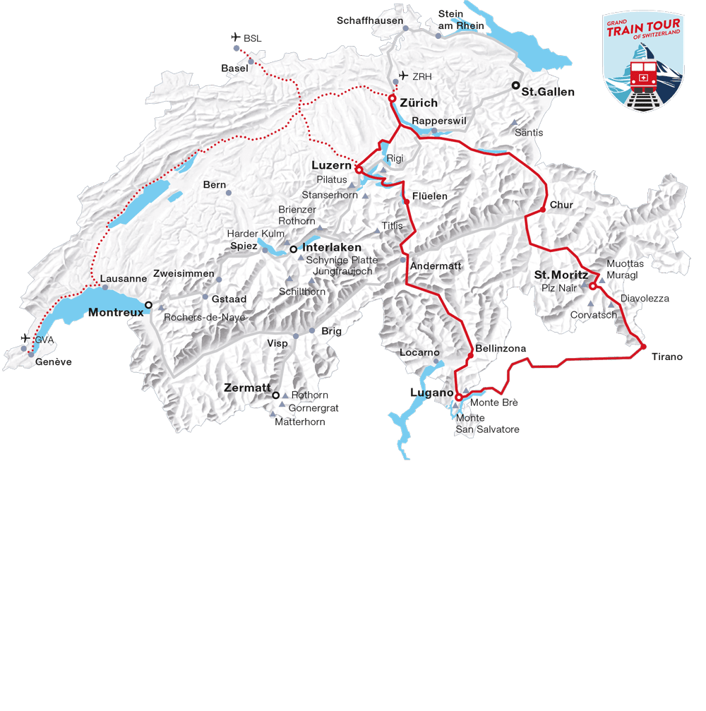 Karte: Gletscher & Palmen Tour (Grand Train Tour of Switzerland)