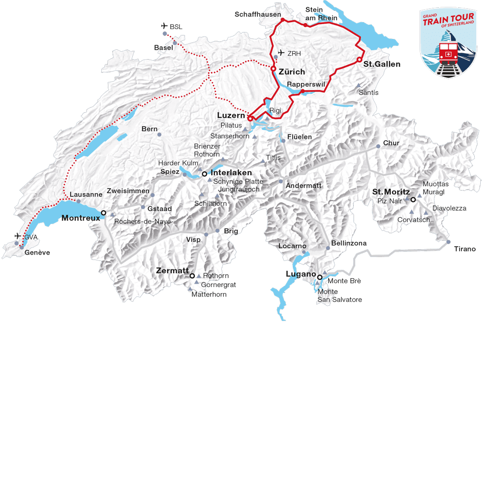 Karte: Faszination Wasser Tour (Grand Train Tour of Switzerland)