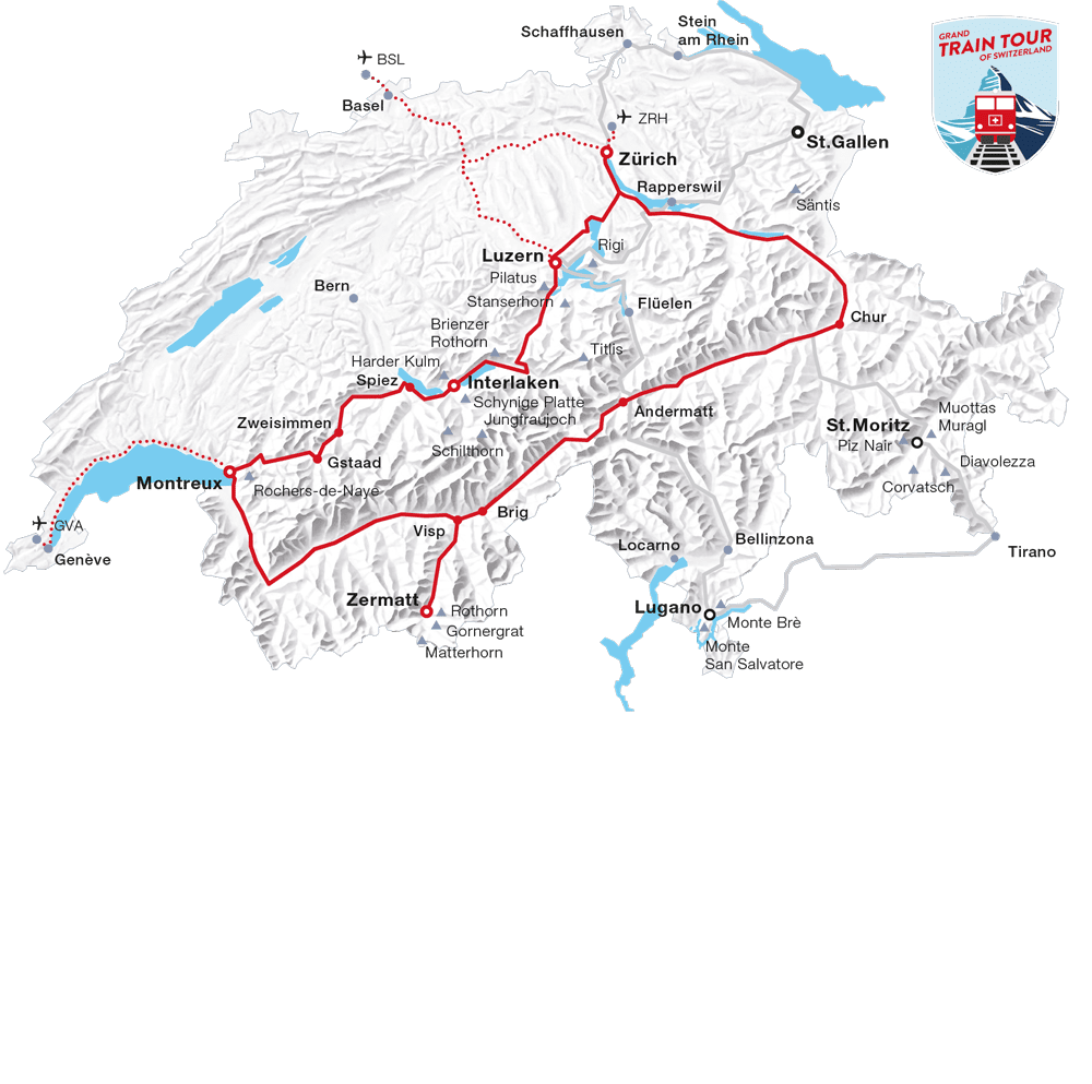 Karte: Top-Attraktionen Tour (Grand Train Tour of Switzerland)