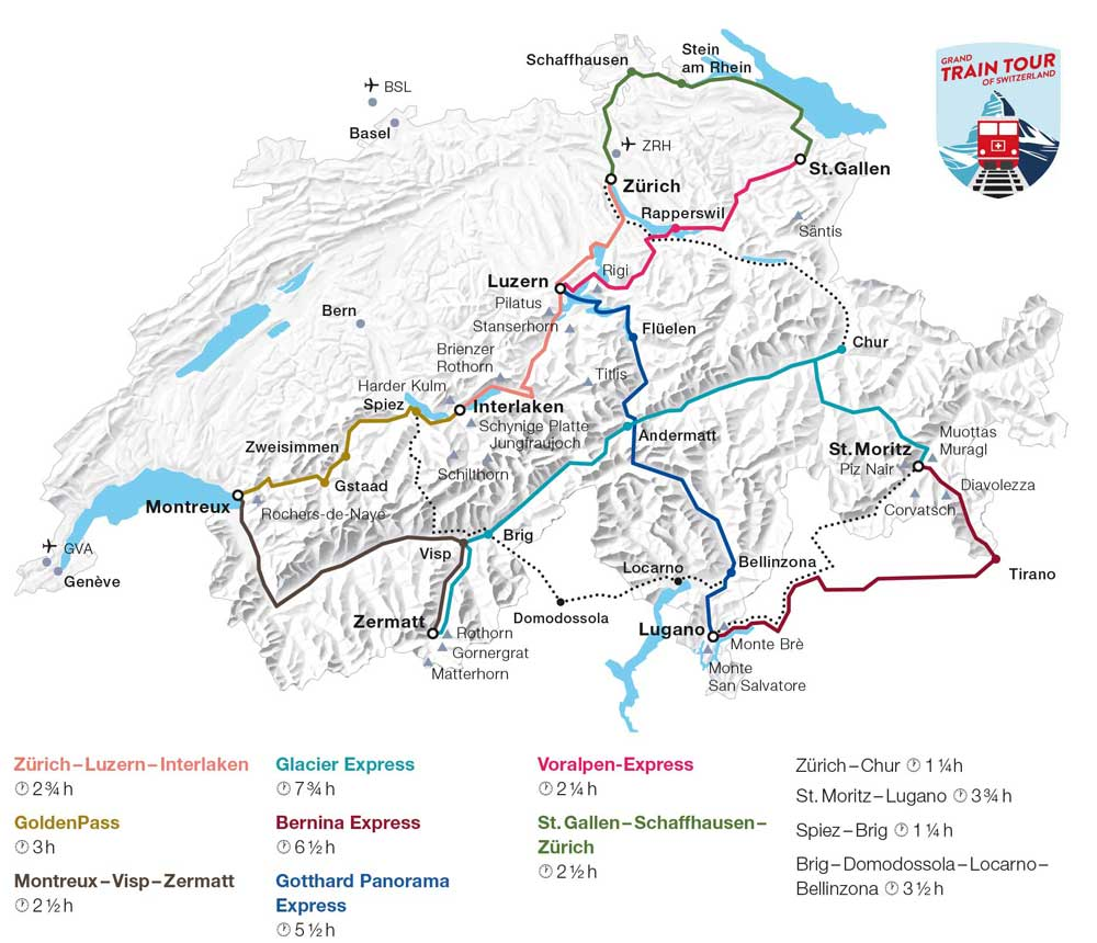 Map: Grand Train Tour of Switzerland