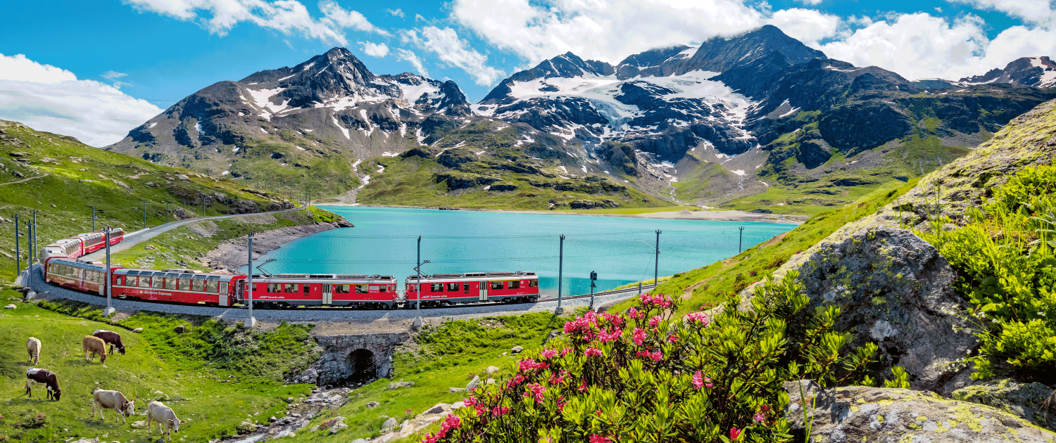 Bernina Express at Lago Bianco, Grisons