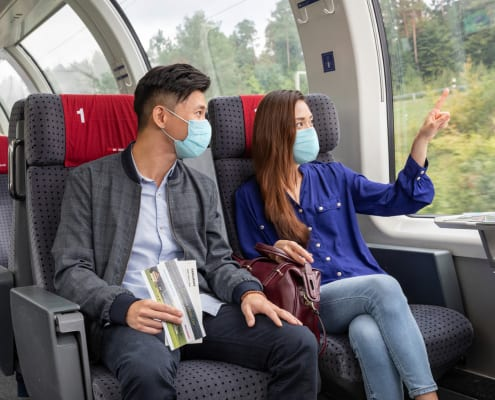 Guests on the Swiss Travel System wearing a mask